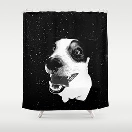 jack russell terrier dog space crazy va bw Shower Curtain