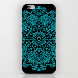 Mandala Project 230 | Teal on Black iPhone Skin