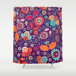 Colorful khokhloma flowers pattern Shower Curtain
