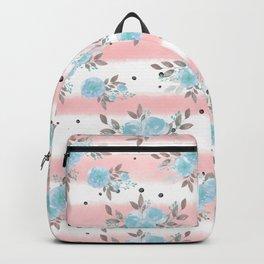 Pink teal watercolor modern stripes floral dots Backpack