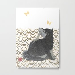 SHIBA INU, DOG, SEIGAIHA, JAPANESE Metal Print