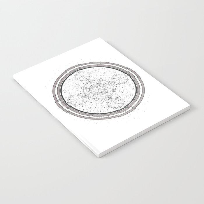 Black and white sacred geometry, Sci fi, Mechanical art Notebook