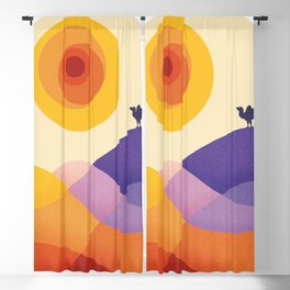 Sun, Desert, Waves of Sand and Camel Blackout Curtain