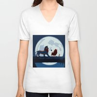 hakuna V-neck T-shirts featuring Lion King Stylish Painting by Bolin Cradley Art