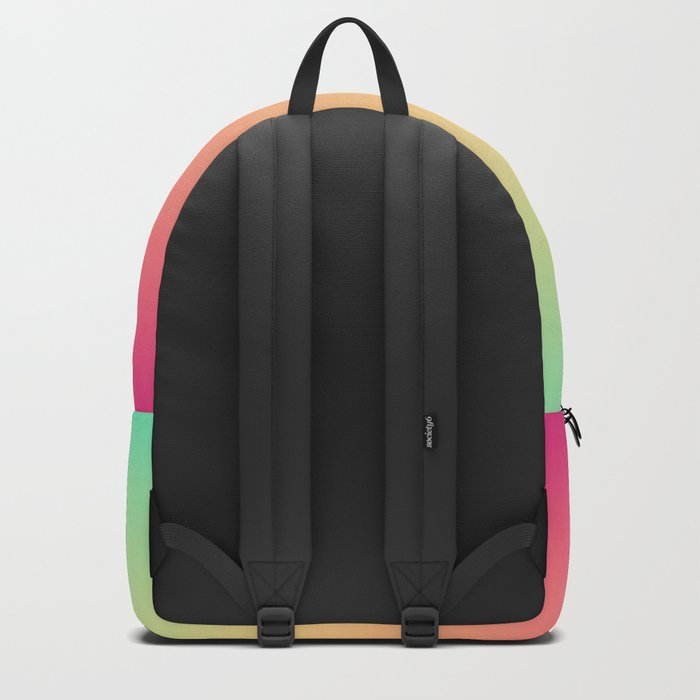 Ombre gradient digital illustration pink, blue, orange colors Backpack