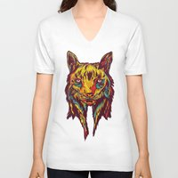 rare V-neck T-shirts featuring BE RARE* - Iberic Lince by Vasco Vicente