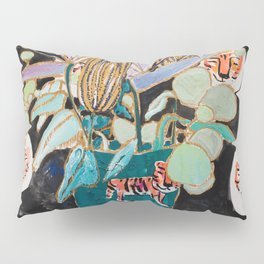 Dark Floral Still Life with Banksia Pods and Tigers Pillow Sham