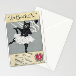 Vintage Poster, Black Cat Magazine Cover, Cat Wall Art Stationery Cards