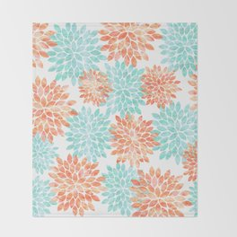 aqua and coral flowers Throw Blanket