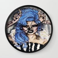 cara delevingne Wall Clocks featuring Cara Delevingne by vooce & kat