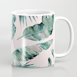 Tropical Palm Leaves Turquoise Green Coral Pink Coffee Mug
