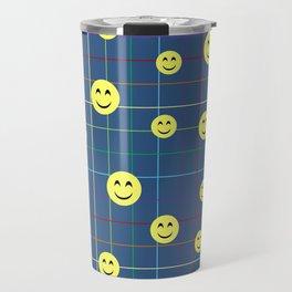 Colorful Smiley Emoji 5 - dark blue Travel Mug