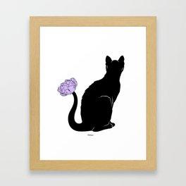 Flower Cat Purple Framed Art Print
