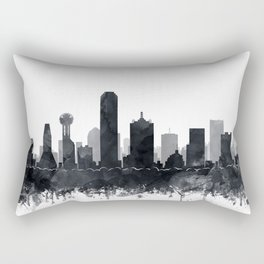 Dallas Skyline Black White Watercolor by Zouzounio Art Rectangular Pillow