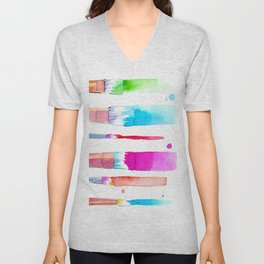 Watercolour Paint Brushes Unisex V-Neck