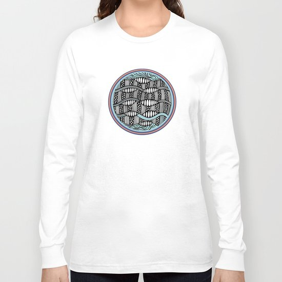 waves black and white Long Sleeve T-shirt