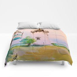 East Chop (Telegraph Hill) Lighthouse Martha's Vineyard Watercolor Comforters