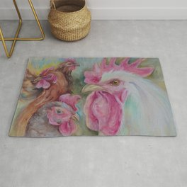 Rooster & Hen Chickens Painting Country style decor Vegan Birds lover gift Rug