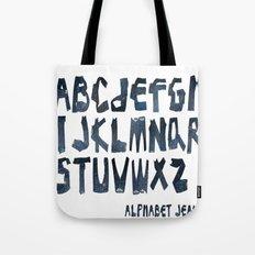 ALPHABET JEAN Tote Bag