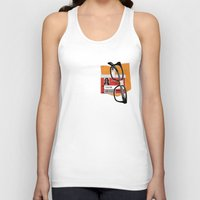 alex vause Tank Tops featuring Alex Vause Prison Badge Fake Pocket Shirt With Glasses by Zharaoh