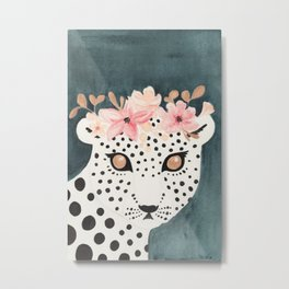 Flower Crown Leopard Metal Print