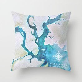 Charleston South Carolina Watercolor Map Typography Art Throw Pillow