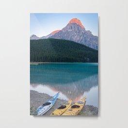 Mountain Kayaks Sunrise Banff Canada Landscape Reflection Metal Print
