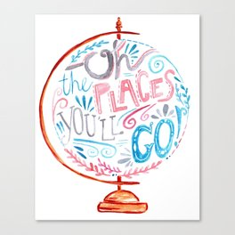 Oh The Places You'll Go - Vintage Globe Typography Pink Blue Grey Canvas Print