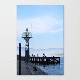 Port and fishermen Canvas Print