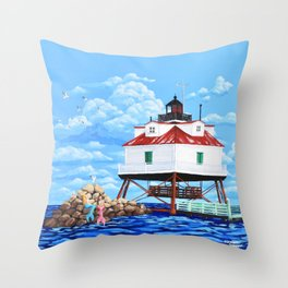 Thomas Point Lighthouse Throw Pillow