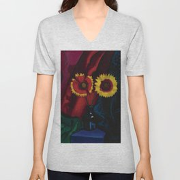 Floral Still Life, Red and Yellow Flowers in Vase painting by James Stella Unisex V-Neck