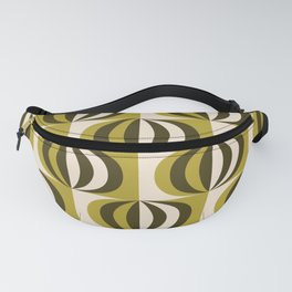 Mid century black & white striped ovals pattern olive green Fanny Pack