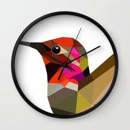 Pink hummingbird portrait Wall Clock