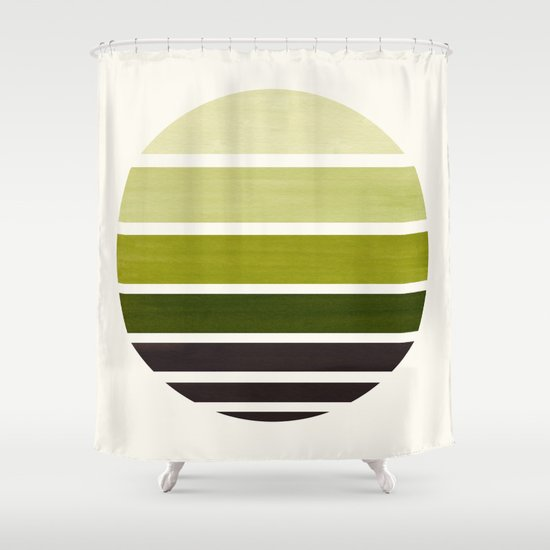 Olive Green Mid Century Modern Minimalist Circle Round Photo Staggered Sunset Geometric Stripe