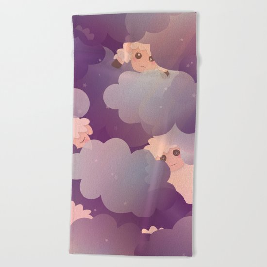 Heavenly Baby Sheep II - Wine Purple / Plum Color, Star Night Sky Background Beach Towel