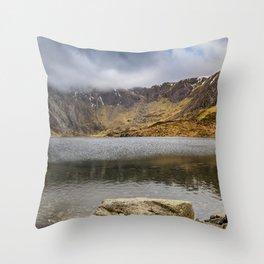 Lake Idwal Winter Throw Pillow