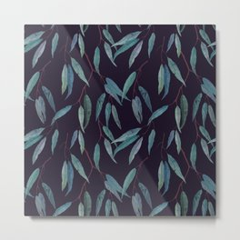 Eucalyptus leaves on deep blue Metal Print