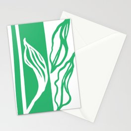 Long Leaf Stripe green Stationery Cards