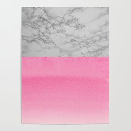 Painted Marble - Black and Coral Pink Poster