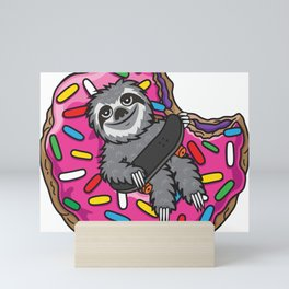 Sloth Skate Donut Mini Art Print