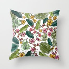 Botanical joy on white Throw Pillow