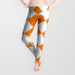 Large Diamonds - White and Orange Leggings