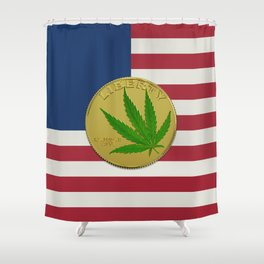 In Weed We Trust - Coin on USA flag Shower Curtain