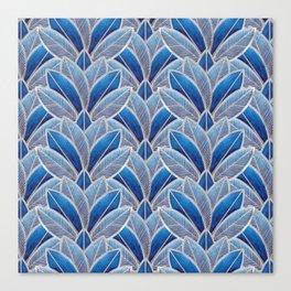 Art nouveau leaf pattern blue Canvas Print