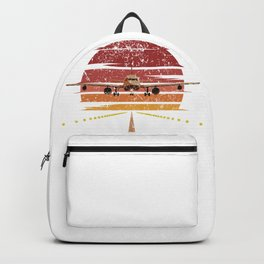 Plane In Retro Color Backpack