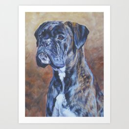 brindle BOXER dog art portrait from an original fine art painting by L.A.Shepard Art Print