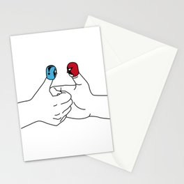 Thumb wrestling Stationery Cards