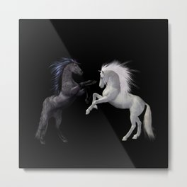Black White horse Metal Print