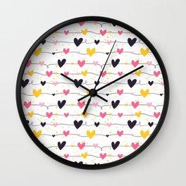 Cute seamless heart pattern Wall Clock