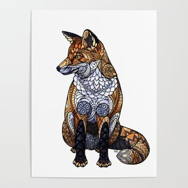Stained Glass Fox Poster
